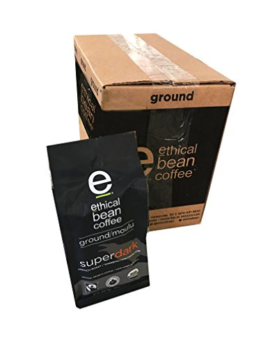 Ethical Bean Coffee - Super Dark Ground Coffee 8 oz (Pack of 6)