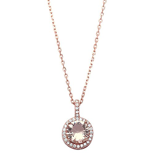 Blue Apple Co. Halo Pendant 18 Necklace Round Simulated Morganite Round CZ Accent Rose Tone 925 Sterling Silver