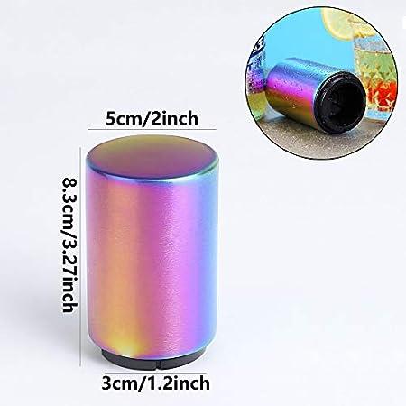 Abrebotellas Automático Magnético Abrebotellas con Botón Abridor de Botellas Reutilizable Sacacorchos de Acero Inoxidable Calidad para Bares Cocinas para Abrir la Tapa de Bebidas de Cerveza 2 Piezas