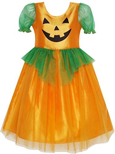JP96 Girls Dress Pumpkin Tulle Party Dress Holloween Costume Size (Holloween Costumes Party)