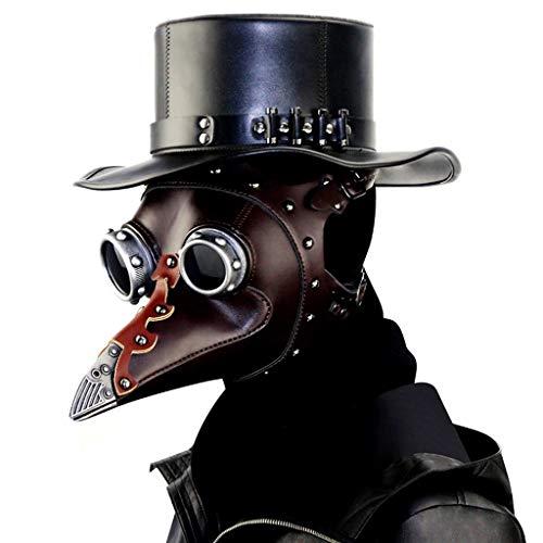 JSFQ Steampunk Plague Doctor Beak Mask Medieval Bubonic Plague for Halloween Costume Masquerade Masks (Color : ()