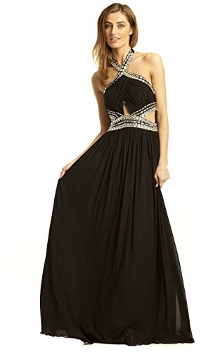 IKRUSH Black Womens Polly Kleid Abend Maxi zPzWBRrqc