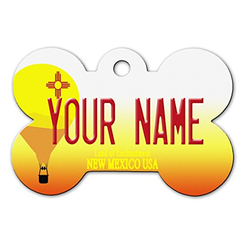 BleuReign(TM) Personalized Custom Name New Mexico State License Plate Bone Shaped Metal Pet ID Tag with Contact Information