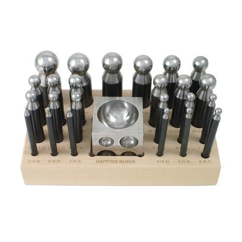 - 26 Piece Dapping Doming Punch Block Set 2.3 mm to 25 mm Jewelry Making Metal Forming Tool Kit