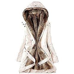 Vermers Women Coats Winter Womens Warm Long Coat Fur Collar Hooded Jacket Slim Parka Outwear Us 6 M Z Beige