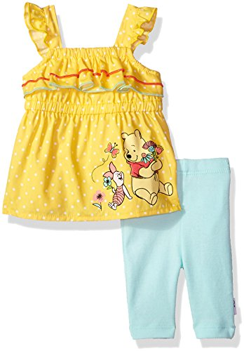 Disney Baby Girls Pooh Capri Legging Set, Lemon Drop, 24M