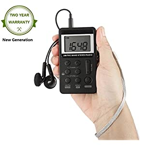 "AM FM Pocket Radio,Mini AM FM Stereo Radio Portable Digital Tuning 1.5"" LCD Screen Radio Presets with Earbuds and Rechargeable Battery for Walk by Mesuvida"