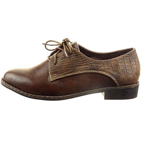 caviglia derby a Marrone di pelle Moda da alla serpente blocco CM tacco Tacco donna alto scarpa 2 Sopily Scarpe wn1F7q47Y