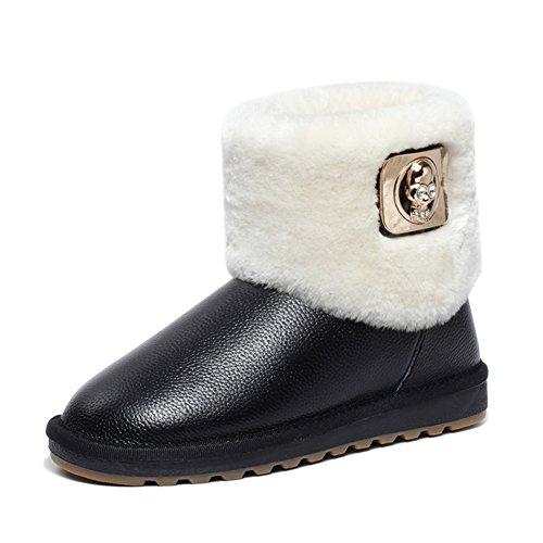 noir de Bottes pour neige décontracté cuir en Milanao style femmes de nvqXgqx7