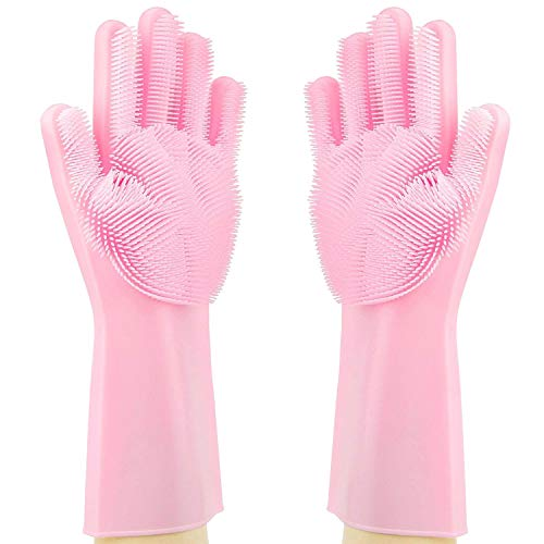 ThxToms Magic Silicone Scrubbing Gloves, Scrub Cleaning Gloves with Scrubber for Dishwashing and Pet Grooming, Latex Free (Pink, 1 Pair)