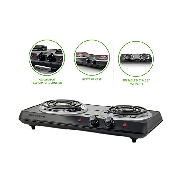 Ovente 5.7 & 6 Inch Double Hot Plate Electric Coil Stove, Portable 1700 Watt Cooktop Countertop Kitchen Burner with… 1