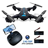 GPS Drones with Camera 720P for Adults 2.4G FPV RC Drone with GPS Auto Return Home HD Wide-Angle Camera WiFi Live Video Quadcotper Helicopter for Kids Beginners 40Mins Long Flight Time
