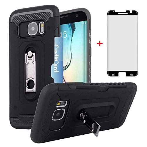 Samsung Galaxy S7 Edge Wallet Phone Case with Friendly Tempered Glass Screen Protector Credit Card Holder Kickstand Full Body Protective Cell Accessories for Glaxay S7edge S 7 Plus GS7 7s 7edge Women