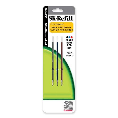 Zebra(R) Ballpoint SK-Refills For 3-C Technotwist Pens, Fine Point, 0.5 mm, 3 Colors, Pack Of 3