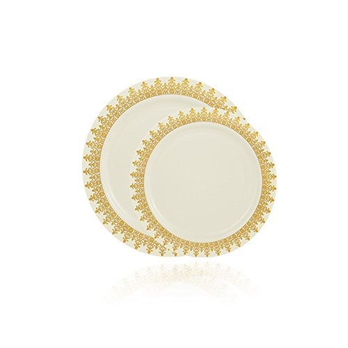 Posh Setting Ornament Collection Combo Pack China Look Cream/Gold Plastic Plates,(Includes 8 Packs of 10 Plates, 40 10.25'' Dinner Plates and 40 7.25'' Salad Plates), Fancy Disposable Dinnerware