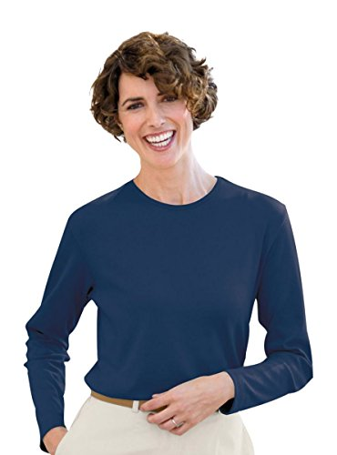 The Tog Shop Womens Petite Long-Sleeve Jewel-Neck Tee - P-M Classic Navy