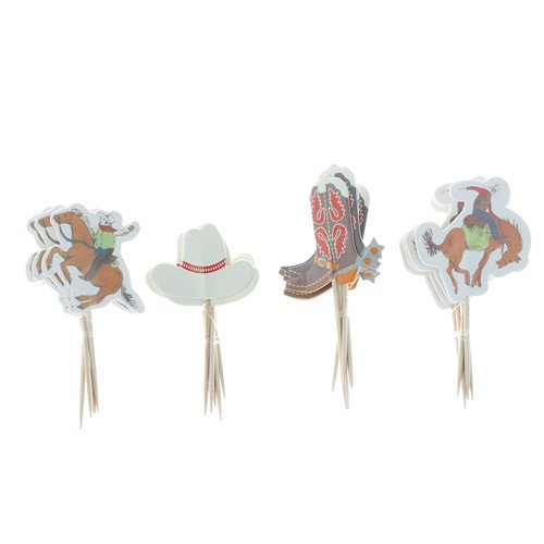 iMagitek 48 Pack Western Cowboy Cupcake Toppers Picks Cake Decorations for Birthday Party, Baby Shower -