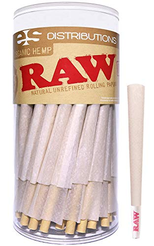 Raw Cones Organic King Size | 100 Pack | Pure Hemp Pre Rolled Rolling Papers with Tips and Packing Sticks Included