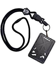 Top Loading Three ID Card Badge Holder with Heavy Duty Lanyard w/Detachable Metal Swivel Clip by Specialist ID, Sold Individually (One Holder / 3 Cards Inside)