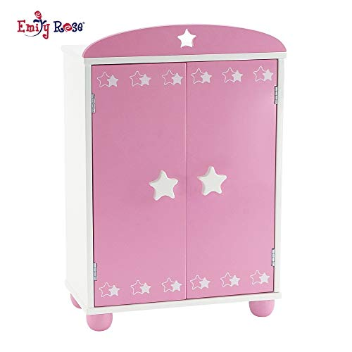 Emily Rose 14 Inch Doll Furniture | Beautiful Pink and White Armoire Closet with Star Detail Comes with 5 Doll Clothes Hangers | Fits American Girl Wellie Wisher Dolls from Emily Rose