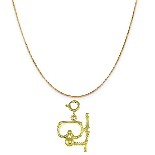 14k Yellow Gold Scuba Mask and Snorkel Pendant on a 14K Yellow Gold Curb Chain Necklace, 16'' by Eaton Creek Collection