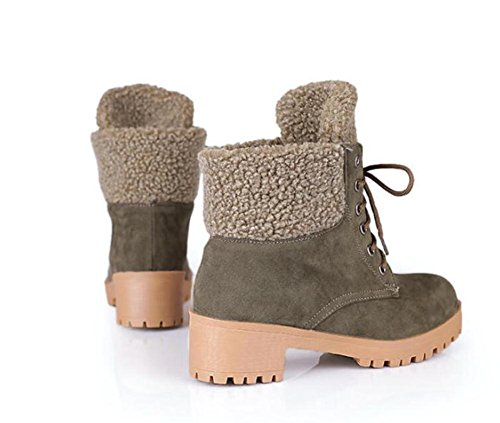 Botas de tacón corto antideslizantes para mujeres , army green , 38