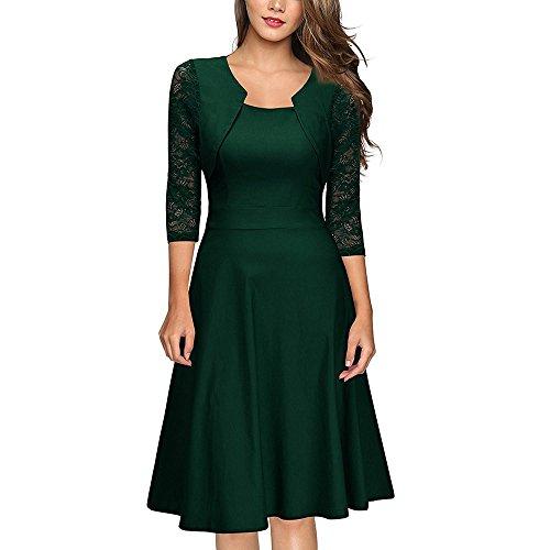 Quadrato Pizzo Dress YELINGYUE Midi Autunno Ufficio Donne Collare Verde Manicotto Floreale In Abito 4wa1FSn