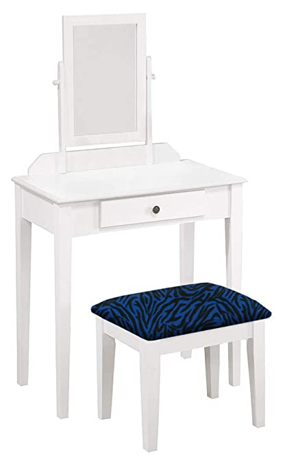 Brilliant The Furniture Cove Wood Vanity Make Up Table With Mirror In A White Finish With Your Choice Of An Animal Print Fabric Covered Bench Cushion Free Caraccident5 Cool Chair Designs And Ideas Caraccident5Info
