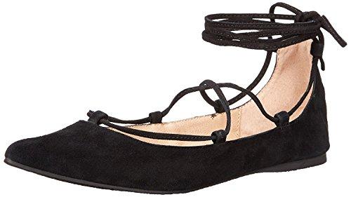 Steve Madden Women's Eleanorr Ballet Flat, Black Suede, 8.5 M US Ankle Tie Flats