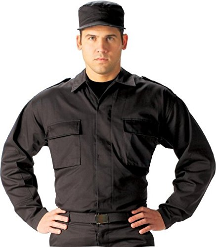 2 Bdu Pocket (Rothco 2 Pocket BDU Shirt, Black, Large)
