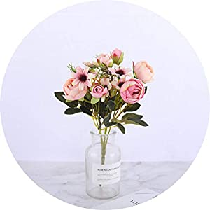 vibe-pleasure Silk DIY Daisy Camellia Artificial Flowers Small Rose Bride Bouquet Xmas Party Decor Faux Fake Flowers Wedding Home Decoration,Daisy Rose Pink 46