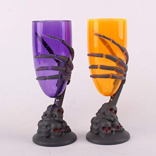 (Fheaven (TM) Glowing Wine Cup Claw Party Spooky Skeleton SKull Halloween Goblet LED Scary for Haunted KTV Bar Halloween)