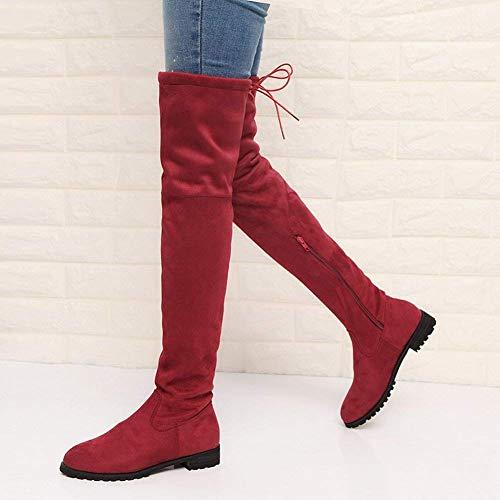Wine Zip Boots Round Zipper Colorato Women's Size Flat Vino Red 39 Oudan Side Large Sxq0zz