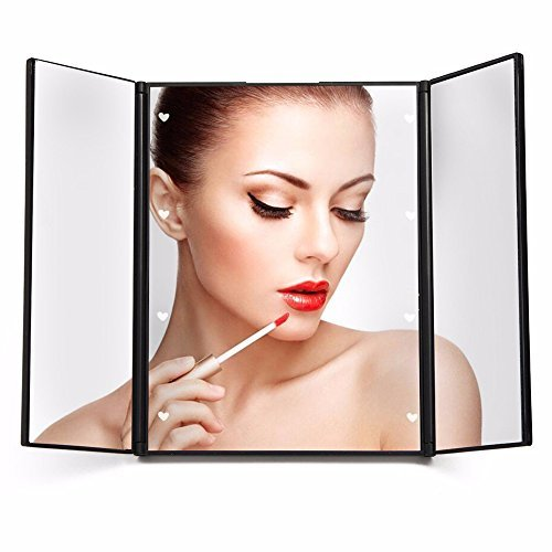 ILSELL LED Lighted Portable Folding Travel Makeup Mirror, Adjustable Makeup Vanity Touch Screen Illuminating Cosmetic Mirror for Beauty Cosmetic and Shaving with 8 Led Lights