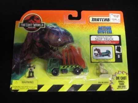 Skip Truck (1997 Matchbox Jurassic Park Tracker/Trapper Skip Truck with Ian Malcolm and baby T-Rex The Lost World Site B)