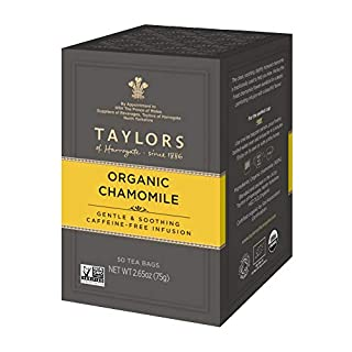 Taylors of Harrogate Organic Chamomile Herbal Tea, 50 Teabags (Pack of 6)