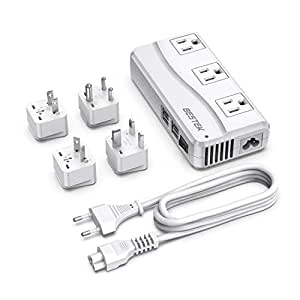BESTEK Universal Travel Adapter 220V to 110V Voltage Converter 250W with 6A 4-Port USB Charging 3 AC Sockets and EU/UK/AU/US/India Worldwide Plug Adapter