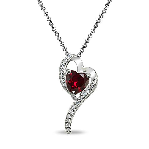 (Sterling Silver Created Ruby Heart Slide Pendant Necklace with Cubic Zirconia)