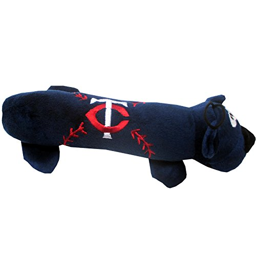 MLB MINNESOTA TWINS TUBE TOY for DOGS & CATS. SOFT Plush Fun Pet Toy with TWO inner SQUEAKERS.