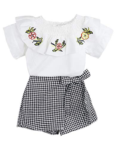 Girls Clothes Toddler Kids Ruffle Collar Blouse Flower Tops + Checkered Shorts Outfits Set 2Pcs(6-7 T)