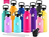 KollyKolla Vacuum Insulated Water Bottle Metal Water Bottles with Straw & Filter Hot & Cold Drinks Bottle Stainless Steel Thermoflask Leakproof Kids Sports Bottle(750ml Rose Red)
