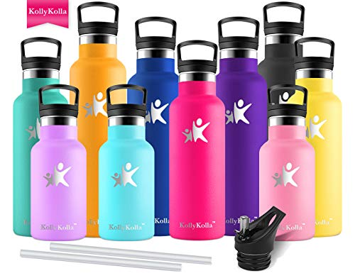 KollyKolla Vacuum Insulated Water Bottle Metal Water Bottles with Straw & Filter Hot & Cold Drinks Bottle Stainless Steel Thermoflask Leakproof Kids Sports Bottle(350ml Rose Red)