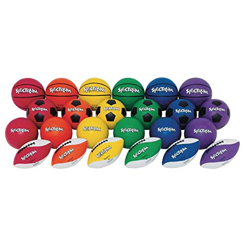 S&S Worldwide Spectrum Official Size Rubber Sports Ball Easy Pack (Pack of 24)
