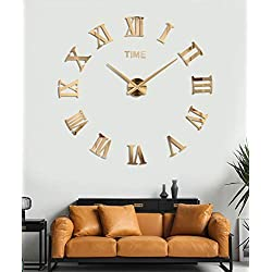 SIEMOO Large DIY Wall Clock Kit, 3D Frameless Wall Clock with Mirror Number Stickers for Home Living Room Bedroom Office Decoration-Gold