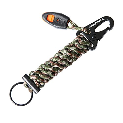 Carabiner Outdoor Keychain Survival Kit – Handmade Paracord First Aid Kit Lanyard with Whistle and Firestarter for Outdoor, Camping, Hiking, Tenting (…