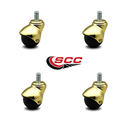 Service Caster Bright Brass Hooded 2 Inch Swivel Ball Casters with 7/16 Grip Ring Stem - 300 lbs. Total Capacity - Set of 4