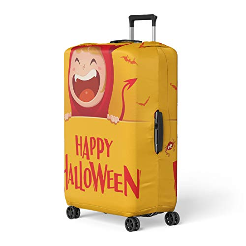 Pinbeam Luggage Cover Yellow Happy Halloween Red Devil Demon Big Signboard Travel Suitcase Cover Protector Baggage Case Fits 26-28 inches