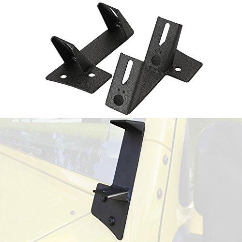 Double Pillar Pod - Partol Dual A-Pillar Light Brackets - Dual Lower Windshield LED Work Light Mounts Kit For 2007-2017 Jeep Wrangler JK/JKU 2DR/4DR (1 Pair, Black)