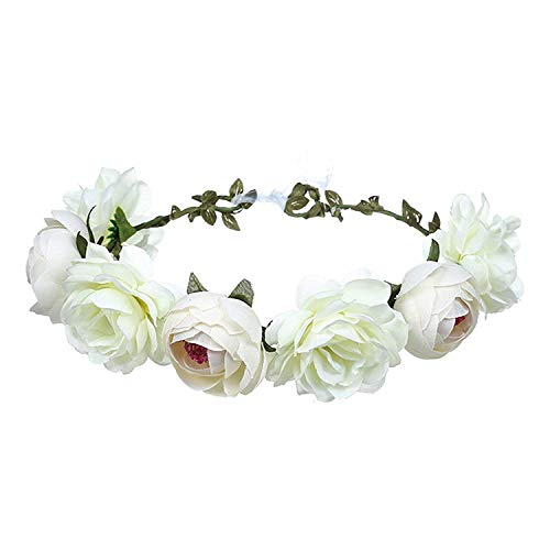 (Women Rose Floral Crown Hair Wreath Leave Flower Headband with Adjustable Ribbon (White))