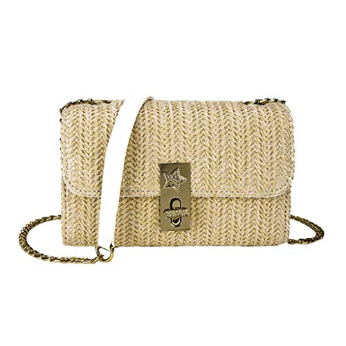 (Women Nylon Woven Shoulder Bag Flap Cover Magnetic Lock Design Handbag Quilted Pattern Adjustable Metal Chain Strap Retro Summer Beach Ladies Braided Crossbody Bag (Khaki))